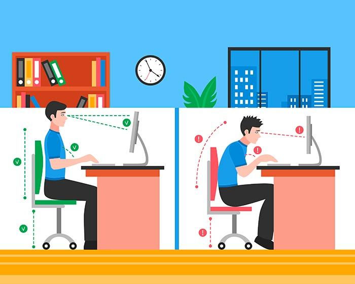 Mantener una postura correcta delante del ordenador - HeelEspaña
